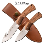 Elk Ridge Fixed Blade Hunting Knife Set Natural Pakkawood Handle