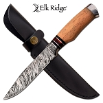 Fixed Blade Damascus Pattern Hunting Knife with Maple Wood Handle