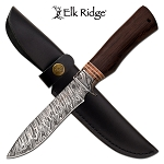 Fixed Blade Damascus Pattern Hunting Knife with Real Wood Handle