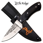 Elk Ridge Fixed Blade Hunting Knife 3.4 Inch Black Pakkawood Handle