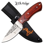 Elk Ridge Fixed Blade Hunting Knife 3.4 Inch Brown Pakkawood Handle