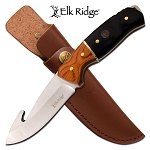 Gut Hook Blade Hunting Knife with Black Handle Leather Sheath