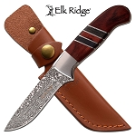 Elk Ridge Fixed Blade Knife Brown Pakkawood Hunting Knife