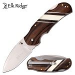 Elk Ridge Pocket Knife Brown Pakkawood Handle with Bone Inlays