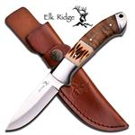 8 Inch Elk Ridge Fixed Blade Hunting Knife -  Bone Inlay Burlwood Handle