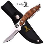 Elk Ridge 7 Inch Fixed Blade Hunting Knife - Burl Wood Handle