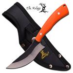 Elk Ridge 7.6 Inch Fixed Blade Bone Chopper Knife - Orange G10 Handle