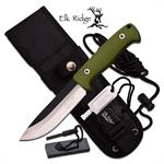 Elk Ridge BushCraft 10.5 Inch Fixed Blade Hunting Knife Olive Green Nylon Fiber Handle