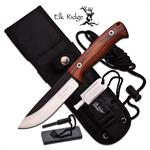 Elk Ridge BushCraft 10.5 Inch Fixed Blade Hunting Knife Brown Pakka Wood Handle