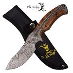 Elk Ridge 8.75 Inch Overall Fixed Blade Hunting Knife Maple Wood