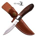 Elk Ridge 8 Inch Fixed Blade Hunting Knife Brown Handle