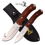 Elk Ridge 2 Piece Set Fixed Blade Hunting Knife Pakka Wood