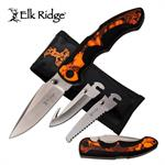 Elk Ridge Inter-changeable Blade Folding Pocket Knife Orange Camo