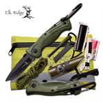 Elk Ridge Outdoor Adventure Survival Camping and Hunting Kit with Green Knife
