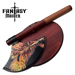 Fantasy Dragon Axe with Wood Plaque
