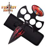 Fantasy Master 7 Inch Red Flame Dragon Fantasy  Push Dagger Knife