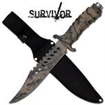 Jungle Camo Combat Survivor Hunter Bowie Knife with Sheath