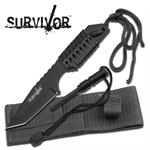 Survivor 7 Inch Fixed Blade Survival Camping Knife with Fire Starter - Black