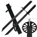 28 Inch Twin Black Blades Full Tang Ninja Sword Set