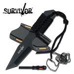 Survivor's 7 Inch Fixed Blade Outdoor Survival Fire Starter Knife - Black Tanto Blade