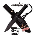 Survivor 12 Inch Fixed Blade Survival Knife Army Black ABS Handle