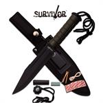 Survivor 12 Inch Fixed Blade Survival Knife Army Green ABS Handle