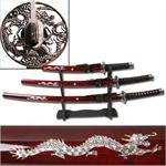 3 Piece Samurai Sword Set Burgundy Color - Dragon Design