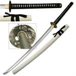 Hand Sharpened Carbon Steel Katana with White Finish Scabbard