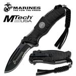 US Marines Folding Knife with 4MM Black Blade - ABS Rubber Handle