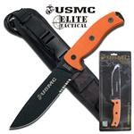 US Marines 12 Inch Semper Fi 5MM Thick Fixed Blade Knife - Orange G10 Handle
