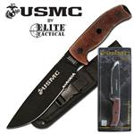 US Marines 12 Inch Semper Fi 5MM Thick Fixed Blade Knife - Tan Micarta Handle