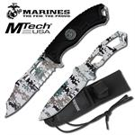 Official Licensed Marines Digital Desert Camo Fixed Blade Knife and Throwing Knife Set with Sheath