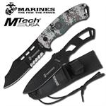 Official Licensed Marines Fixed Blade Knife and Throwing Knife Set - Digital Desert Camo Handle