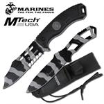 Official Licensed Marines Urban Camo Fixed Blade Knife and Throwing Knife Set with Sheath