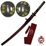 Hand Forged Carbon Steel Katana with Sunflower Guard Design