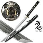 Hand Forged Damascus Carbon Steel Katana with Battle Scene Guard Design