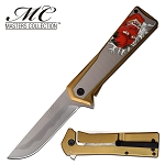 Red Devil Spring Assisted Pocket Knife Gold Silver Handle