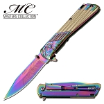 The Eagle and the Man Pocket Knife Spring Assisted Folding Knife Rainbow