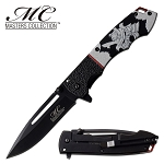 Fantasy Spring Assisted Pocket Knife Samurai Image Handle