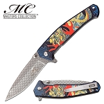 Spring Assisted Knife Blue Dragon Handle Pocket Knife