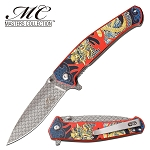 Spring Assisted Knife Red Dragon Handle Pocket Knife