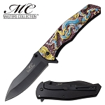 Fantasy Dragon Spring Assisted Opening Pocket Knife Gold Blue Dragon