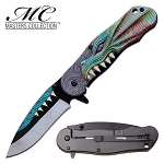 GOT Pocket Knife Green Dragon Spring Assisted Knife