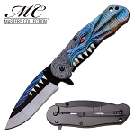 GOT Pocket Knife Blue Dragon Spring Assisted Knife