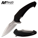 8 Inch Manual Pocket Knife Black Aluminum Handle