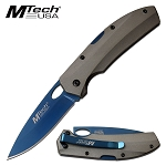 7 Inch EDC Manual Pocket Knife Gray Aluminum Handle