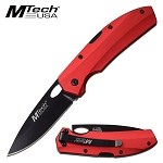 7 Inch EDC Manual Pocket Knife Red Aluminum Handle