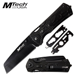 Manual Folding Pocket Knife Hidden Multi Tools in Black Handle