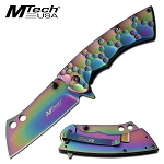Full Rainbow Steel Cleaver Blade Spring Assisted Pocket Knife