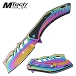 Mtech Cleaver Blade Knife Spring Assisted Knife Rainbow